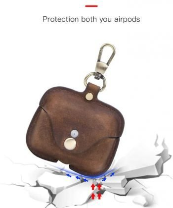 Airpods Pro Leather Case,Hiram Crazy Horse Cowhide Leather Portable Travel Case for Airpods Pro,Headphone Cases for AirPods Pro Charging Case(Coffee)