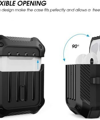 Valkit Compatible AirPods Case Cover, Full-Body Rugged Protective Cover Shock Proof Case Men Women with Keychain for Apple Airpods 2 & 1 - Black