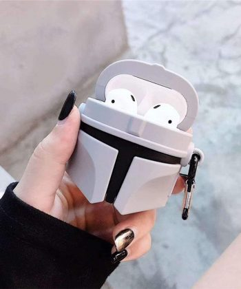Star Wars Airpods Case, Mandalorian Helmet Style Protective Case Cover with Keychain Compatible with AirPods 1&2,Shockproof Anti-Lost AirPods 2/1 Case Cover for Girls and Women(Mandalorian Helmet)