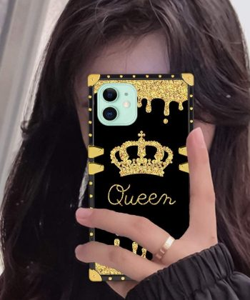 Fiyart iPhone 11 6.1 Inch Case Luxury Gold Queen Square Soft TPU and Hard PC Back Stylish Retro Cover 2019 Release