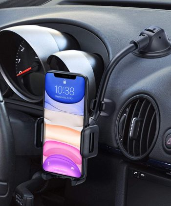 Mpow Car Phone Mount, Dashboard Windshield Car Phone Holder with Long Arm, Strong Sticky Gel Suction Cup, Anti-Shake Stabilizer Compatible iPhone 12 11 pro/11 pro max/XS/XR/X/8/7,Galaxy, Moto and More