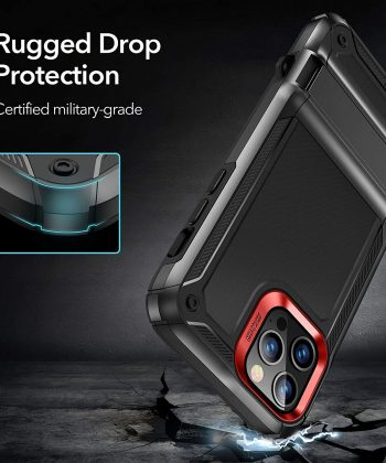ESR Machina Series Designed for iPhone 12 Case/12 Pro Case [Military-Grade Drop Protection] [Patented Vertical/Horizontal Kickstand] for iPhone 12/12 Pro 2020, 6.1-Inch – Black