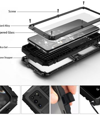 360 Full Metal Aluminum Armor Holder Phone Case For Samsung Galaxy S21 S20 Note 20 Ultra S20 Plus Case Shockproof Cover